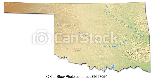 Relief map - oklahoma (united states) - 3d-rendering. Relief map of ...