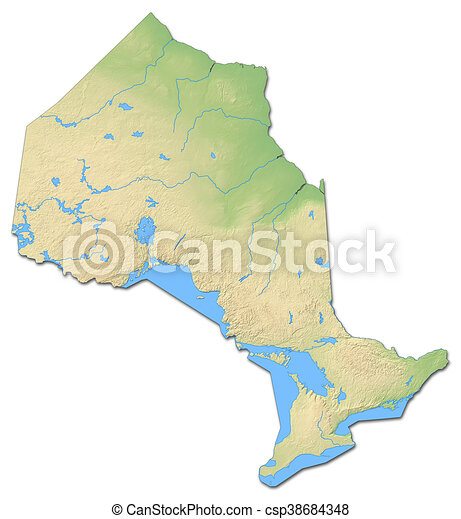 Relief Map Ontario Canada 3d Rendering Relief Map Of Ontario