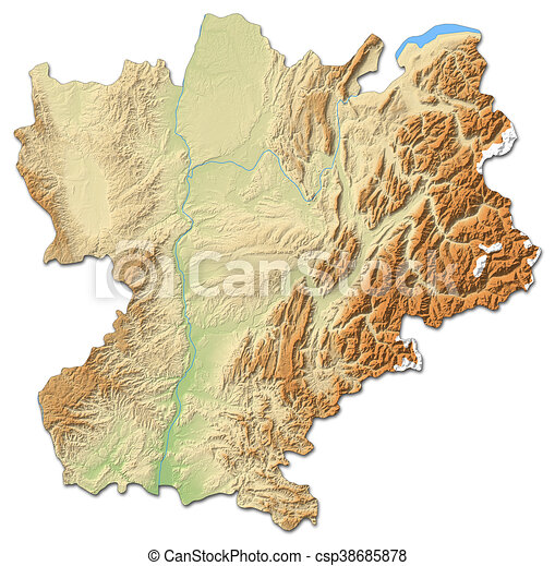 Relief map rhonealpes france 3drendering Relief map