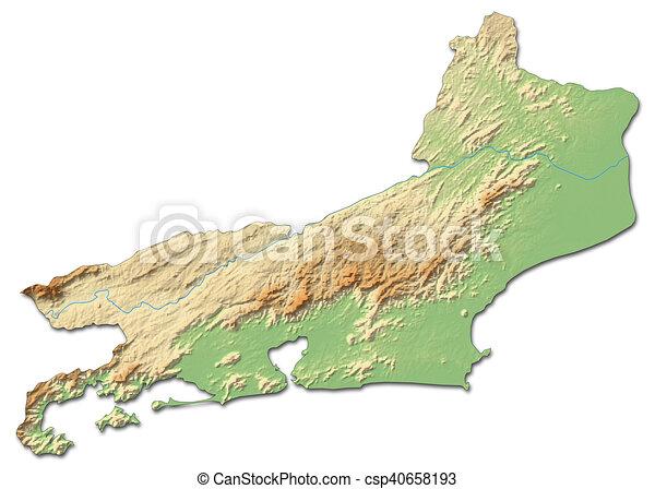 Relief map - rio de janeiro (brazil) - 3d-rendering. Relief map of ...