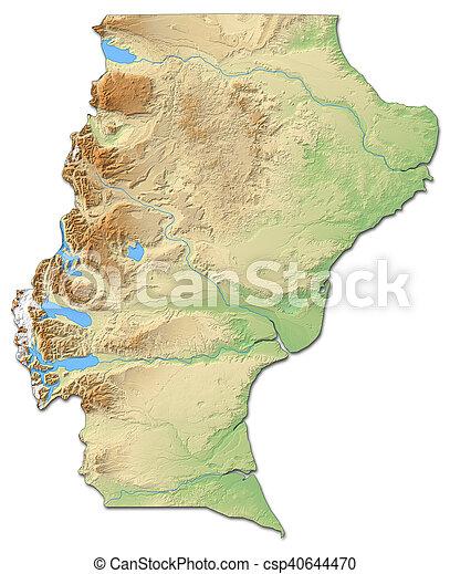Relief Map Santa Cruz Argentina 3d Rendering Relief Map Of