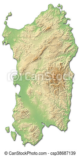 Relief Map Sardinia Italy 3d Rendering Relief Map Of Sardinia