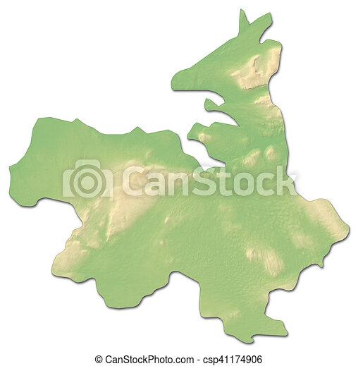 Sligo Map Of Ireland.Relief Map Sligo Ireland 3d Rendering
