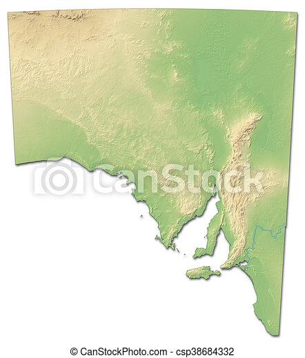 3d Map Of South Australia.Relief Map South Australia Australia 3d Rendering