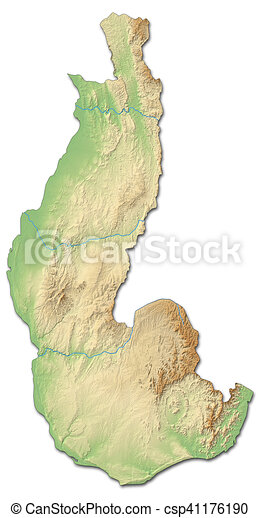 Relief map - toliara (madagascar) - 3d-rendering. Relief map of ...