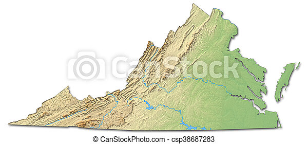 Relief Map Of Virginia.Relief Map Virginia United States 3d Rendering Relief Map Of