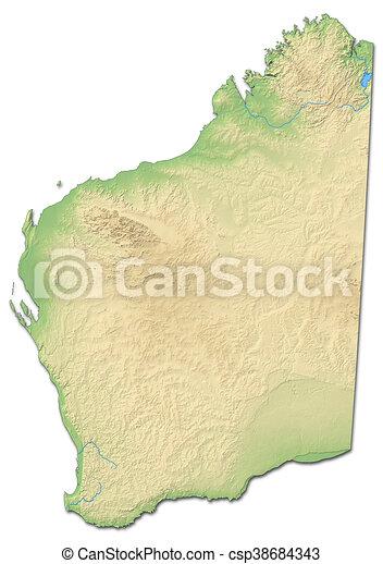 West Australia Map.Relief Map Western Australia Australia 3d Rendering