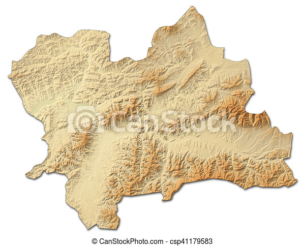 Relief map - zilina (slovakia) - 3d-rendering. Relief map of zilina on