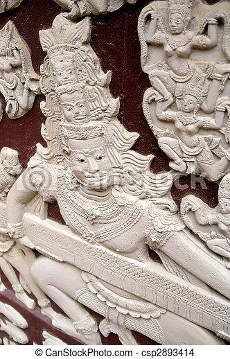 Reliefs- Phnom Penh, Cambodia - csp2893414