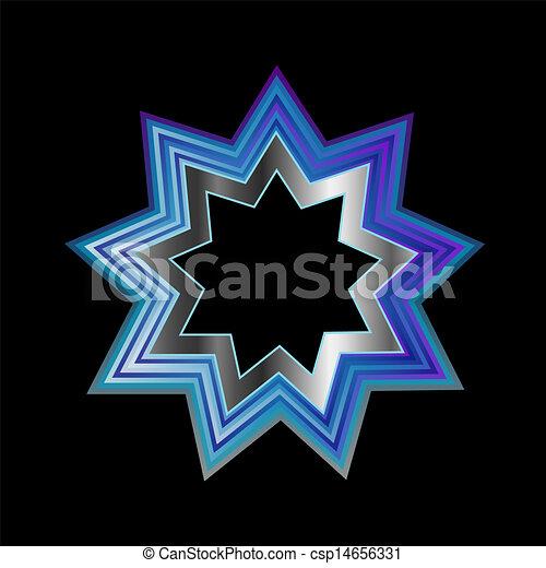 Simbolo de la religión Bahai, nueve - csp14656331