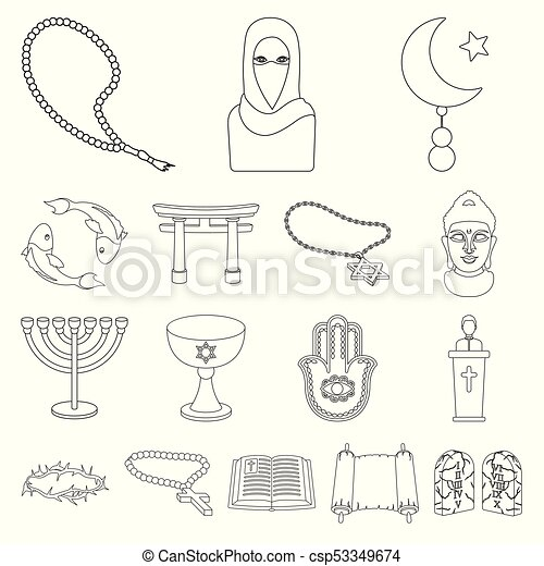 Religion and belief outline icons in set collection for design   Accessories, prayer vector symbol stock web illustration