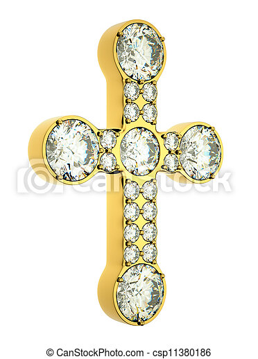 Religion and fashion: golden cross with diamonds isolated - csp11380186
