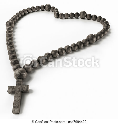 Religion and love: black chaplet or rosary beads - csp7994400