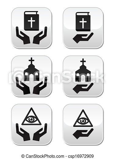 Religion Buttons Hands With Bible Religious Symbols With