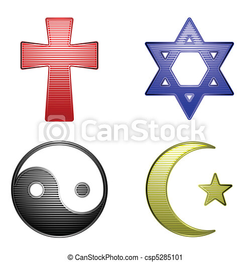 Religion Icons Four Glossy Stripped Icons For Different Religions
