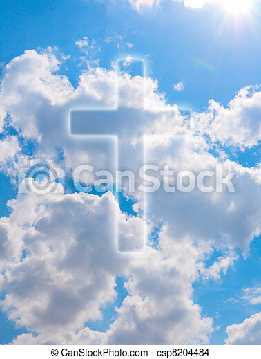 Religion Silhouette Of Cross On Blue Summer Sky With Clouds