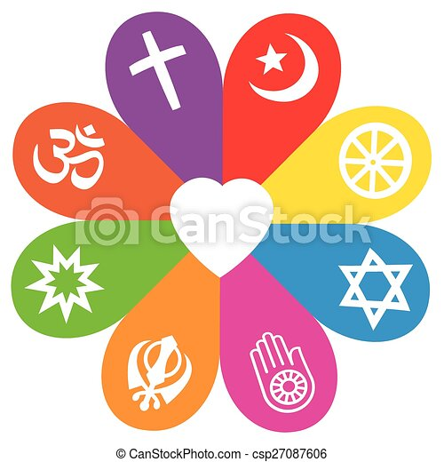 Religion Symbols Flower Love Colors Religious Signs On Colored