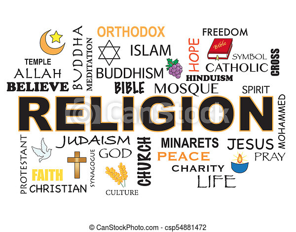 illustration of religion word concept