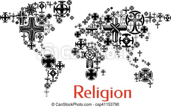 Religion World Map With Christianity Cross Symbols Map Design With
