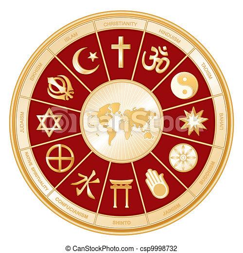 Religiones mundiales, mapa mundial - csp9998732