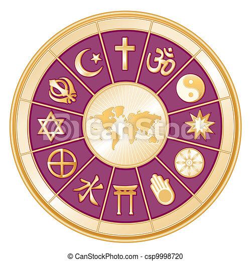 religiones mundo, mapa - csp9998720