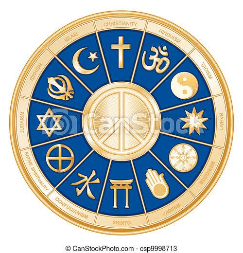Religiones mundiales, símbolo de la paz - csp9998713