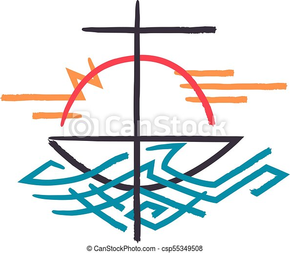 Religious Cross Boat And Sea Symbol Hand Drawn Vector Illustration