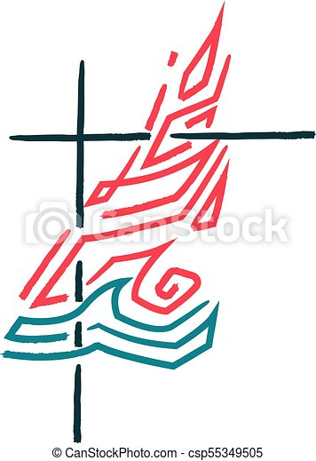Religious Cross Fire And Water Symbol Hand Drawn Vector
