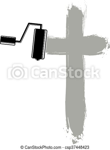 Religious cross vector simple illustration created with smudge  brushstrokes  Spiritual symbol, art drawing of crucifix