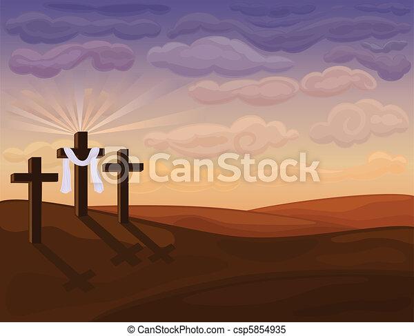 Religious Easter - Golgotha hills - csp5854935