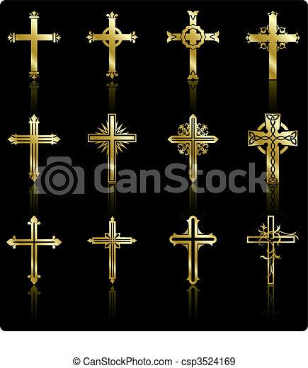 religious golden cross design collection - csp3524169