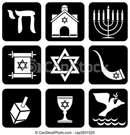 Set Of Vector Icons Of Religious Judaism Signs And Symbols