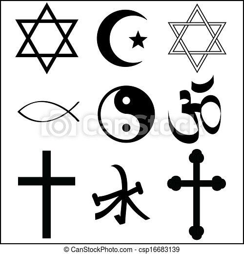 Various Religious Symbol Vector Vectors Search Clip Art