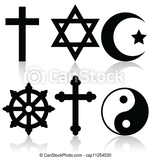 Illustration Of Religious Symbols On A White Background Vectors