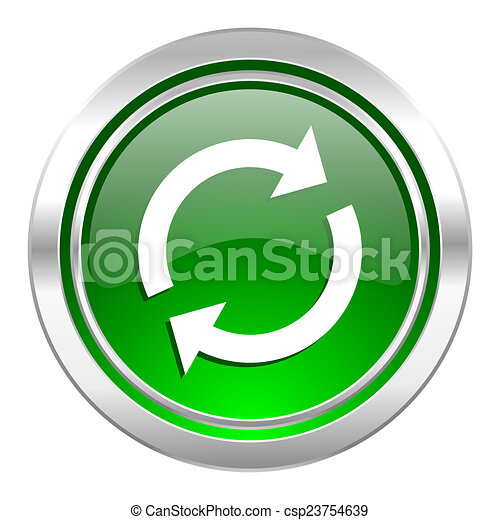 reload icon, green button, refresh sign - csp23754639