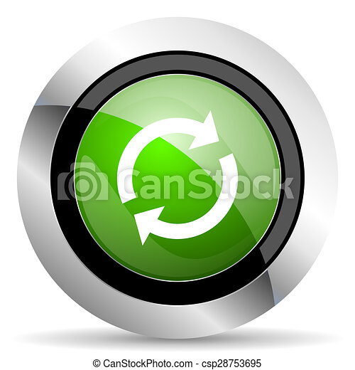 reload icon, green button, refresh sign - csp28753695