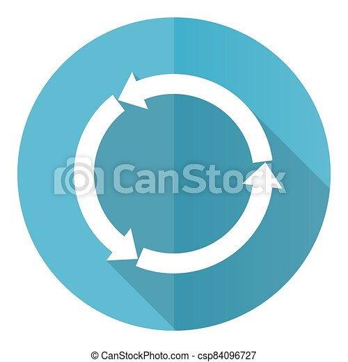Reload web vector icon, flat design blue round web button isolated on white background - csp84096727