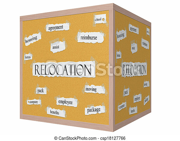 Relocation 3D cube Corkboard Word Concept - csp18127766