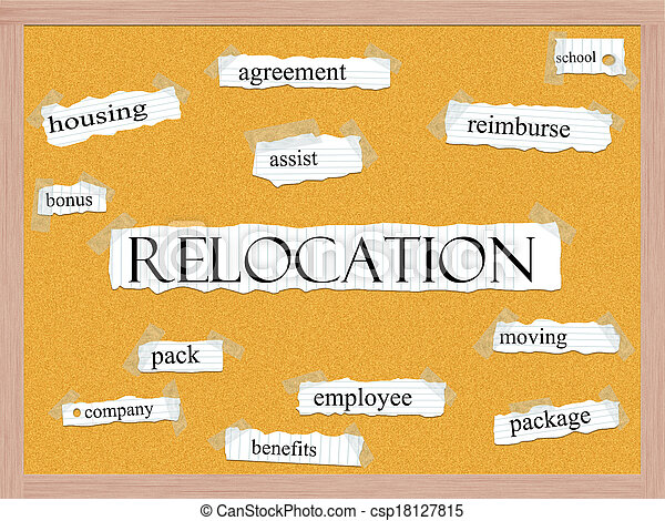 Relocation Corkboard Word Concept - csp18127815