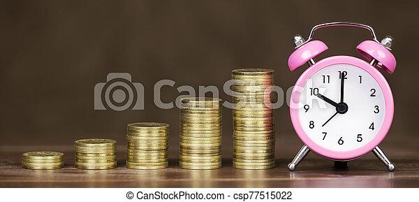 reloj, ahorros, alarma, bandera, tela, tiempo, monedas de oro, concepto, dinero - csp77515022
