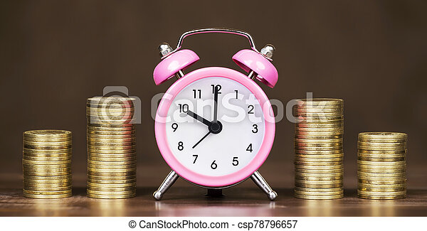 reloj, alarma, oro, bandera, tela, tiempo, coins, concepto, dinero - csp78796657