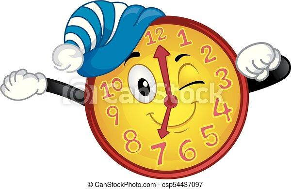 La mascota del reloj despierta ilustración del tiempo - csp54437097