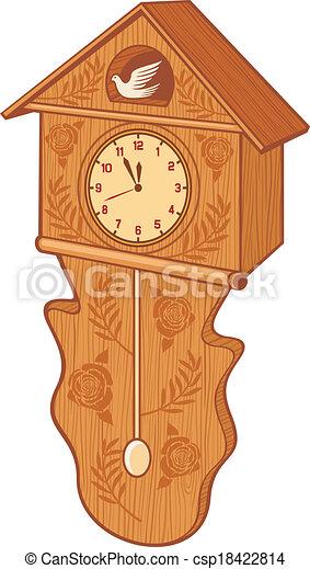 Un reloj cucú de madera - csp18422814