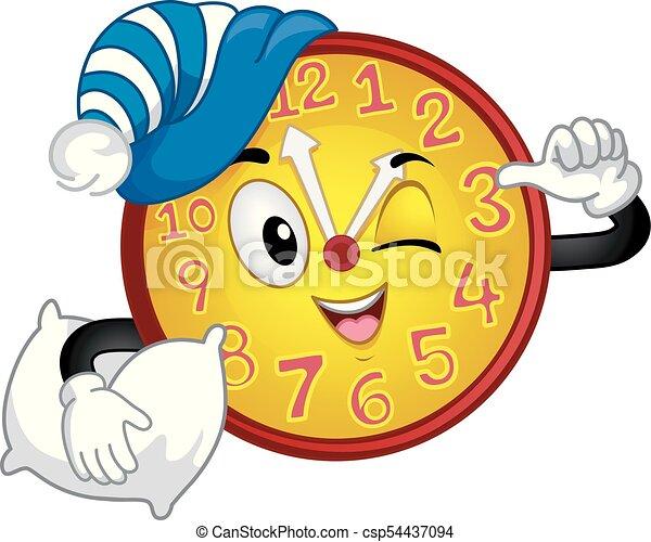 La mascota del reloj de la tarde ilustración de la siesta - csp54437094