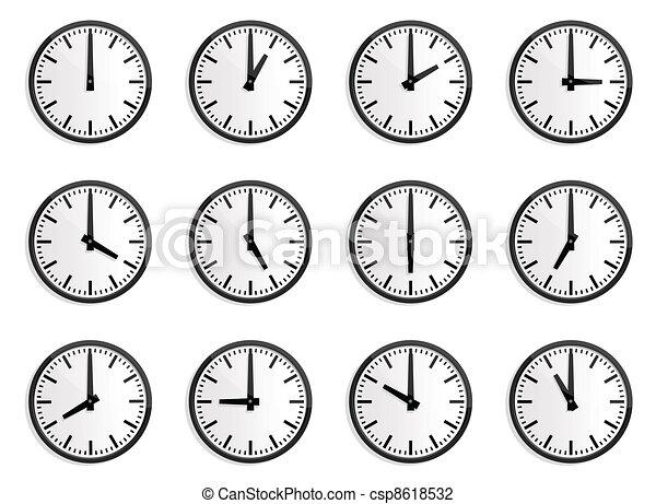 Zona mundial de tiempo, vector de reloj de pared - csp8618532