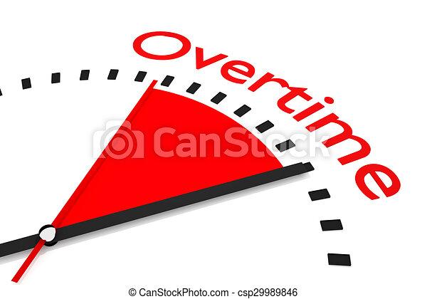 Reloj con el área roja de tiempo extra - csp29989846
