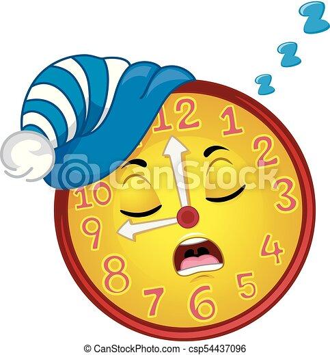 La mascota del reloj duerme ilustración para dormir - csp54437096
