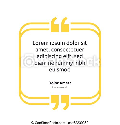 Remark quote text box poster template concept. blank empty frame citation. Quotation paragraph symbol icon. double bracket comma mark. bubble dialogue banner. typography design vector illustration. - csp62239350