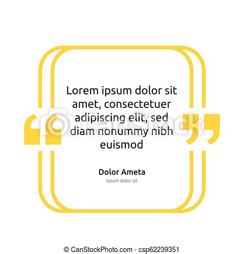 Remark quote text box poster template concept. blank empty frame citation. Quotation paragraph symbol icon. double bracket comma mark. bubble dialogue banner. typography design vector illustration. - csp62239351
