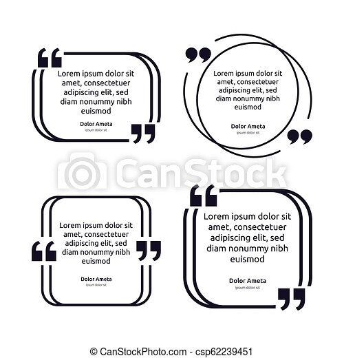Remark quote text box poster template concept. blank empty frame citation. Quotation paragraph symbol icon. double bracket comma mark. bubble dialogue banner. typography design vector illustration. - csp62239451